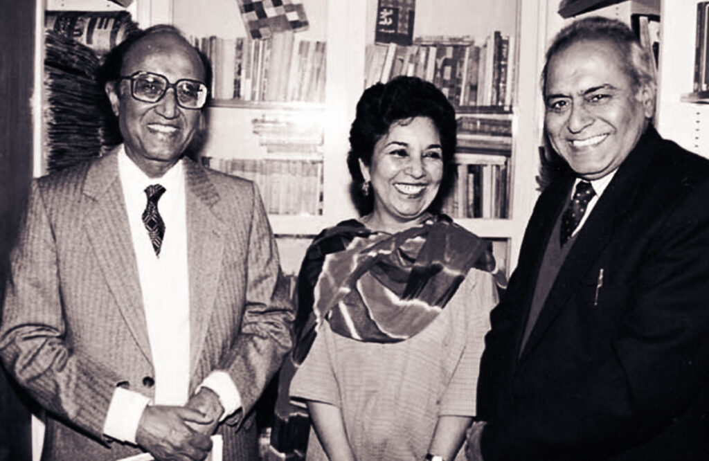 Mushtaq Ahmad Yusufi with his wife Idrees Begum